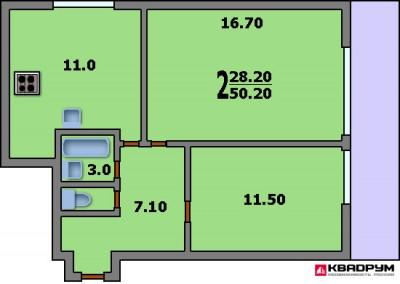 Дизайн 2-х комнатной квартиры П-44Т, перепланировка