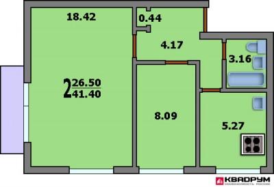 Планировка 1 комнатной квартиры 40 кв м