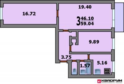 Перепланировка трехкомнатной квартиры, м Парк Победы